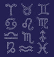 zodiac signs set hand drawn magic symbols in vector image