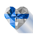 crystal gem jewelry Finnish heart with the flag vector image