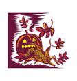 Halloween jack o lantern pumpkin with corn vector image