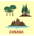 Canadian nature and landscape flat icons vector image