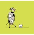 Funny cow with bucket of milk sketch vector image