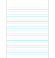 Lined paper from a notebook on white background vector image