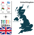 United Kingdom map with flags vector image