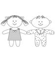 Rag dolls contours vector image vector image
