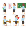 Teacher cartoon character set woman with pointer vector image