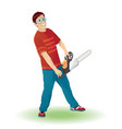 man holding a chainsaw vector image