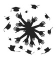 hands celebrating graduation circle vector image vector image