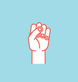 gesture power sign stylized hand with all vector image