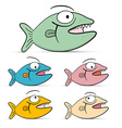 Fish Set Isolated on White Background - vector image vector image