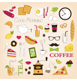 Breakfast set icons vector image