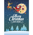 santa claus and the deer fly around the night sky vector image vector image
