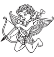 angel cupid black and white vector image