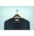 Clothes Wooden Hanger with Cardigan Jumper vector image