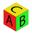 colorful alphabet cubes with abc letters vector image