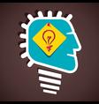 creative bulb sign in human head stock vector image
