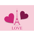 Eiffel Tower with hearts vector image