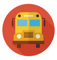 Flat School and Education Bus Circle Icon with vector image