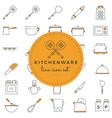 kitchenware - line icon set vector image