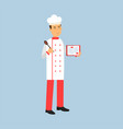 male chef cook character in uniform standing and vector image