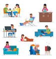 set of cartoon people characters in flat vector image
