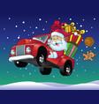 santa claus drive a truck full of christmas gift vector image vector image