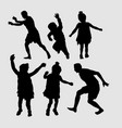 people happy playing silhouette vector image vector image