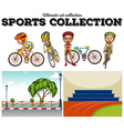 Bikers with bicycle and racing scenes vector image