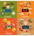 Builder carpenter mechanic and shoemaker vector image vector image