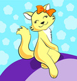 Cute cartoon cat sits smiling with orange bow on vector image