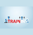businessmen exercising on training word vector image