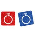 diamond ring grunge textured icon vector image