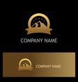 gold mountain label logo vector image