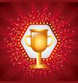 golden trophy cup award prize icon vector image