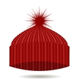 Red Knitted Cap Winter Hat vector image