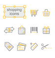 thin line icons yellow set shopping vector image
