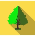 Fluffy green tree icon flat style vector image
