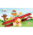 Animals and airplane vector image