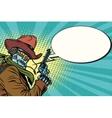 Robot cowboy wild West comic book bubble vector image