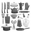 Kitchenware or dishware utensils icons set vector image
