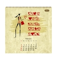 Girls retro calendar 2014 for your design february vector image