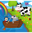 mouse ladybug on boat on river vector image vector image