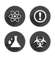 Attention biohazard icons Chemistry flask vector image vector image