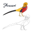 Educational game connect dots draw pheasant bird vector image