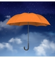 Orange Umbrella on sky with clouds background vector image