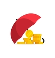 Money under umbrella concept of savings vector image