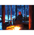 Cartoon man sitting by the fire in winter forest vector image