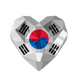 crystal gem jewelry Korean heart with the flag of vector image