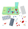 medicaments and box with dosage for day set vector image