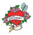 pierced heart in tattoo style vector image