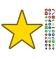 Star Symbol With Toolbar Icon Set vector image